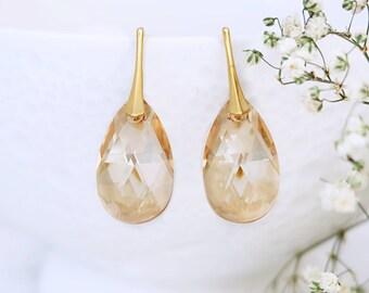 Bridal earrings, Rose gold earrings, Swarovski earrings, Champagne earrings, Crystal earrings, bridesmaid earrings, Teardrop earrings 1