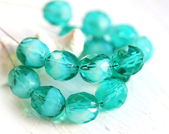 8mm Round Czech glass beads - Ocean Teal Green mixed color, fire polished ball beads, faceted beads - 15Pc - 3044