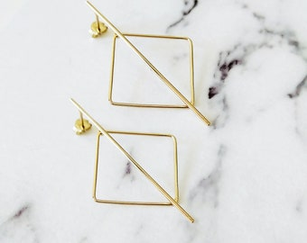 14K Modern Geometric Earrings, Square earrings, 14K solid gold earrings, Minimalist gold earrings, Long stud earrings, Boho, Rhombus, Gift