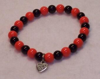 Black and Orange Team Stretch Bracelet. Free Shipping