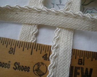 "Cream or Black Double Gimp Cord Twisted Piping Trim 3/8"" woven cotton tape 3/16"" Lip Edging Quilts Pillows 2 yards embellish clothing soft"