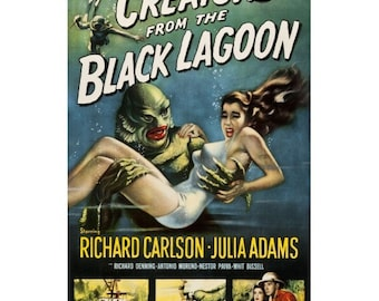 Creature from the Black Lagoon - Retro Old B Movie Poster - Creature Feature - Motion Picture Wall Decor - Cinema Film Art Print