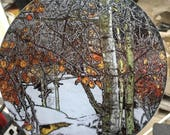 Winter Aspen - Round Glass Cutting Board -  8 in diameter (small)