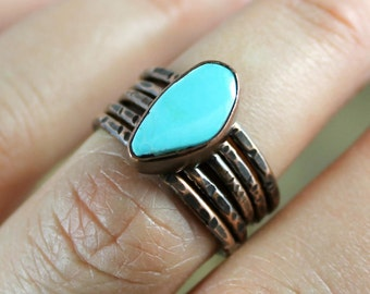 Turquoise and Copper Stacker Ring Set - MADE TO ORDER - Pick Your Stone