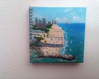 2x2 Mini Hand Painted, Canvas Magnet, Fort Lauderdale  beach