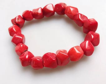 Beautiful Red Faceted Coral  Bracelet,each bead size approx. 10~18mm diameter, sale by one strand and four for one set