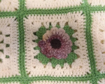 Colorful One-of-A-Kind 3D Flower Garden Afghan