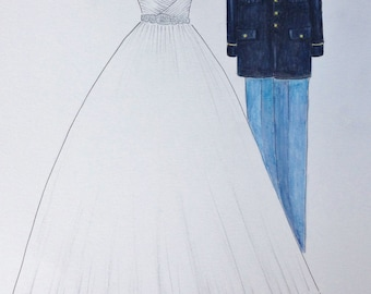 Custom wedding dress and uniform drawing, bride and groom portrait, one year anniversary, paper anniversary gift