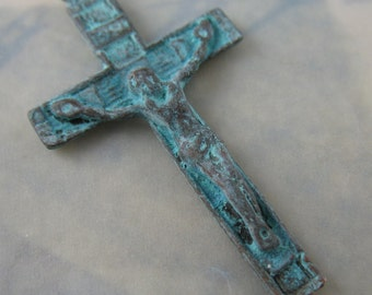 Crucifix Aged Patina Rosary Parts Religious Jewelry Supplies MYK3