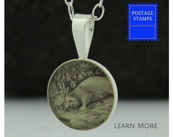 Platypus Sterling Silver Pendant. Platypus Charm Handmade from Vintage Australian Postage Stamps.
