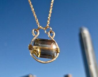 SALE  Bi-Color Quartz Gemstone Necklace
