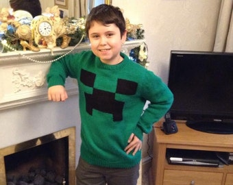 Minecraft Hand knitted sweater