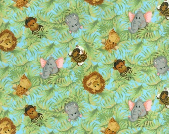 Jungle Babies Tossed Nursery FLANNEL Fabric by the yard