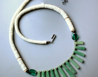 Vintage Retro 1970s Carved Bone and Green Jade Bib Necklace