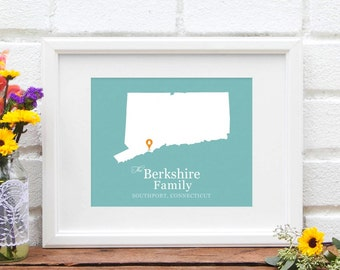 Connecticut State Map Personalized Wedding Gift, Custom Shower Gift, Gay Couples, New England Engagement, Anniversary Gift, Gay Wedding