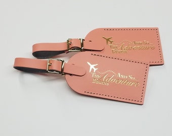 Stylized ....And So...The Adventure Begins Luggage Tag Gifts - Traveler - Wedding - Birthday - Baby Shower & More! Handmade in the USA!