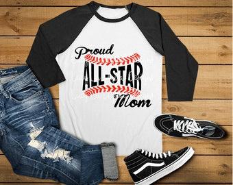 SVG -  Baseball - Proud All-Star Mom, svg, dxf, png, Digital Cut Files
