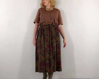 90s Alfred Sung Floral Midi Skirt