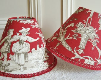 French TOILE DE JOUY Lampshade, Hand made lampshade, French country toile, French fabric, French home, 5.5 x 7.8  ins, Red, French home