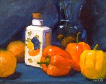 Orange Peppers Oil Painting • Original Art • Oil Paintings • Daily Painters • Daily Painting • Peppers