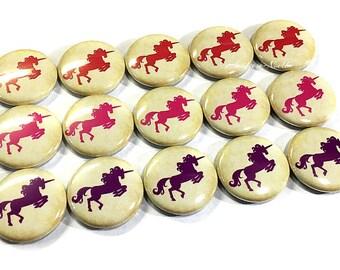 "Unicorn, 1"", Button, Unicorn Button, Unicorn Party Favor, Red Unicorn, Unicorn Flatback, Purple Unicorn, Unicorn Birthday, Pink Unicorn, Pin"