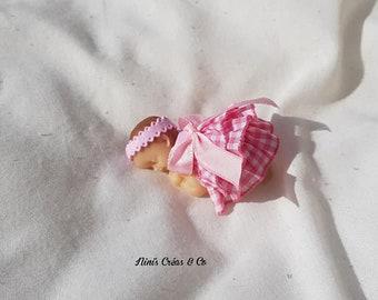 Beeb polymer clay and fabric girl figurine
