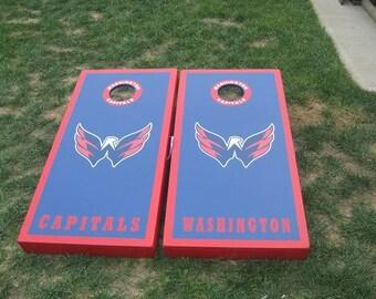 Washington Capitals Custom Built Cornhole Boards Bag Toss with FREE Cornhole bags with upgrade options