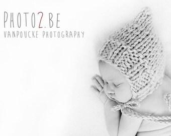 Newborn, 0-3, 3-6, 6-12 size  knit pixie bonnet