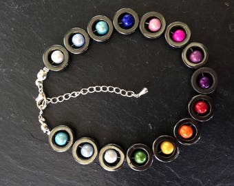 "8"" haematite and rainbow bead bracelet with 2 1/2"" sterling silver extension chain"
