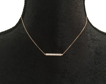 Bar Necklace, Crystal bar Necklace, Dainty Crystal Necklace | Suradesires