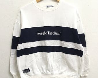 Rare!! Sergio Tacchini Sweatshirt Pullover Jumper Small logo Spellout Embroidery Men clothing Dark blue colour Medium size wSbaJ
