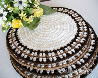 Crochet Placemat Pattern 166 - Intricate Banded Placemat Crochet Patterns - DIY Placemat Crochet Pattern Round Placemat Home Decor Christmas