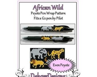 Peyote Beading Pattern (Pen Wrap/Cover)-African Wild