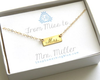 New Bride Gift • Mrs. Bar Necklace • Engraved Script • Bridal Shower Gift • Honeymoon Surprise • Custom Married Name • Bar Layering Necklace