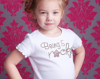 Being 5 Rocks Rhinestone Bling Shirt- Pink and Brown Rhinestones- Available in Baby Pink, Bubble Gum Pink or White