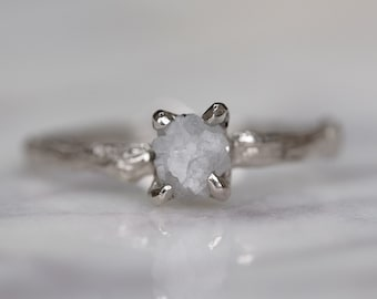 0.93 Carat Rough Diamond 14k White Gold Engagement Ring with Branch Band
