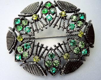 Vintage  Green Rhinestone Brooch Black Japanned