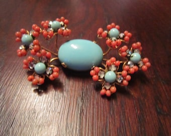 William de Lillo Costume Brooch with Coral and Turquoise