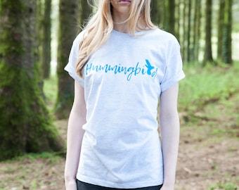 Bright Blue Hummingbird print Tee
