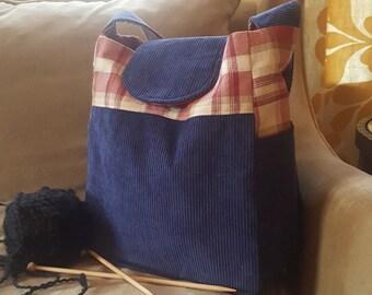 "Knitting Bag, Medium tote, small bag, blue corduroy, Yarn Dispenser, Project bag, 11"" x 9.5"" x 6"", corduroy, plaid, purse, bag"