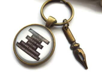 Shakespeare gift, sheakespeare keyring, battle of wits gift, author keyring, writer gift, book gift, reading keyring, fandom, sandykissesuk
