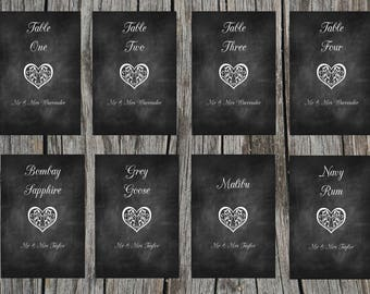 Chalk effect table names/numbers. Wedding table names & numbers
