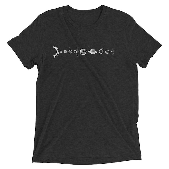 Solar System Tri-Blend T-Shirt Tumblr Hipster Grunge Aesthetic Indie Universe Stars Galaxy Moon Sun Space Planets Rad Vintage Tee 5PxRw24