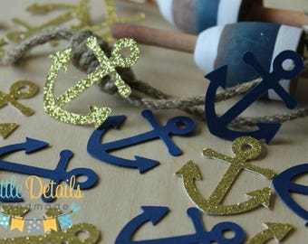 Nautical Table Confetti, Anchor Decorations, Nautical Baby Shower, Wedding  Decor