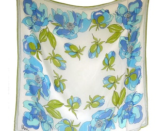 Vintage VERA Neumann FLORAL Scarf with Blue and Olive Flowers - Sheer Silk and Vinal, Japan