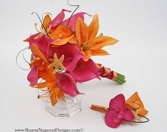 Pink/fuchsia/deep/hot, orange, starfish, bouquet, Real Touch flowers, calla lily, lilies, orchids, Bride, Groom, silk, wedding, set, beach