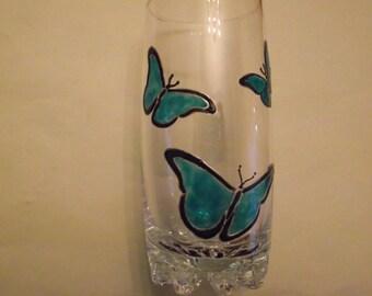Painted glass - blue butterflies