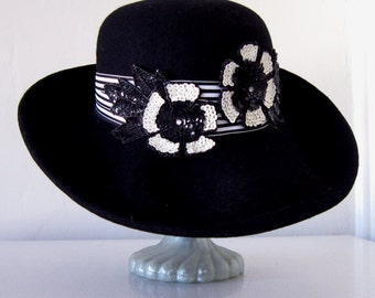 Women's Black Wool Hat ,  Wide Brim Black Hat , Black and White Hat, Black Hat Society.