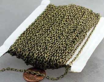 50ft of Antique Brass Flat cable chain 3.7x2.7mm - Unsoldered Links