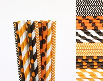 Orange and Black Paper Straw Mix-Orange Straws-Black Straws-Halloween Party Straws-Fall Carnival Straws-Striped-Chevron- Polka Dot Straws